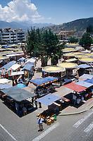 Handicrafts market in Poncho Plaza from above, Otavalo, Ecuador