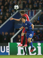 Leicester City's Shinji Okazaki and Atletico Madrid's Saul Niguez go for a high ball<br /> <br /> Photographer Stephen White/CameraSport<br /> <br /> UEFA Champions League Quarter Final Second Leg - Leicester City v Atletico Madrid - Tuesday 18th April 2017 - King Power Stadium - Leicester <br /> <br /> World Copyright &copy; 2017 CameraSport. All rights reserved. 43 Linden Ave. Countesthorpe. Leicester. England. LE8 5PG - Tel: +44 (0) 116 277 4147 - admin@camerasport.com - www.camerasport.com