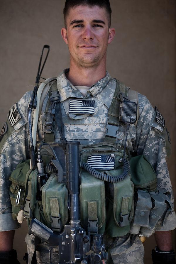 SGT Ryan Benda. Denver, Colorado. 22. Charlie Co. 1st Battalion 12th Infantry Regiment, 4th Infantry Division. Photographed at Combat Outpost JFM in Zhari District, Kandahar, Afghanistan.