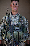 SGT Ryan Benda. Denver, Colorado. 22. Charlie Co. 1st Battalion 12th Infantry Regiment, 4th Infantry Division. Photographed at Combat Outpost JFM in Zhari District, Kandahar, Afghanistan.