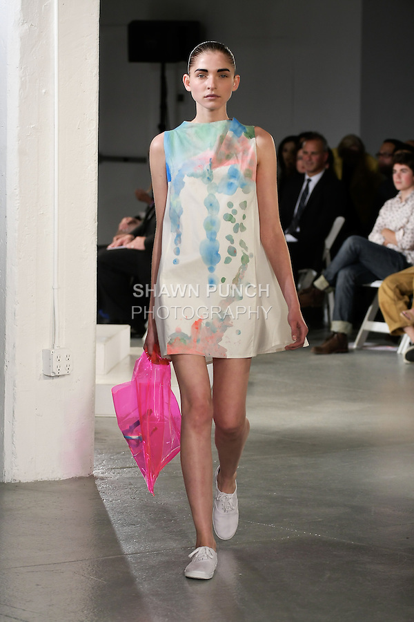 Model walks runway in an outfit by Theresa Deckner, for the 2012 Pratt Institute fashion show, at Center548 NYC, on April 26, 2012.