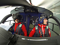 Denmarks first  air ambulance serivce, operated by Norwegian Air Ambulance. The crew is pilot Jan Nielsen, HEMS paramedic Lars Greve-Wilms and doctor Rikke Helene Rasmussen. <br /> <br /> The crew operate an Airbus EC-135 out of the Ringsted base, one of three bases in Denmark.<br /> <br /> <br /> <br /> (photo: Fredrik Naumann/Felix Features)