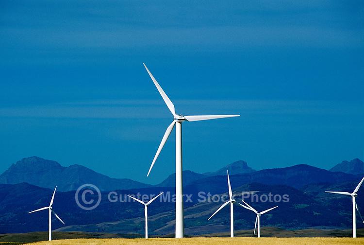 Wind Turbines generating Renewable Wind Energy Power - Industry near Pincher Creek, Southern Alberta (AB), Canada, Canadian Rocky Mountain Foothills