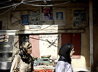 Ein el-Hilweh / Ain el-Hilweh, Saida / Sidon , Lebanon 20081022 - Palestinian reguees in Lebanon - General view from the market in the largest Palestinian refugee camp in Lebanon - Ein el-Hilweh. Two women passing. Photo/copyright: Torbjorn Gronning