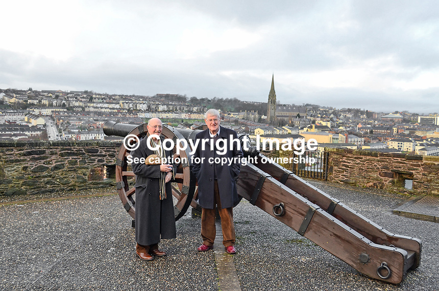 Ken Lavery, Belfast Telegraph, press photographer, former, left, & Victor Patterson, also former Belfast Telegraph press photographer, photographed on Derry Walls. Both worked in Derry/Londonderry in the sixties. 201212041044..Copyright Image from Victor Patterson, 54 Dorchester Park, Belfast, UK, BT9 6RJ..Tel: +44 28 9066 1296.Mob: +44 7802 353836.Voicemail +44 20 8816 7153.Skype: victorpattersonbelfast.Email: victorpatterson@me.com.Email: victorpatterson@ireland.com (back-up)..IMPORTANT: If you wish to use this image or any other of my images please go to www.victorpatterson.com and click on the Terms & Conditions. Then contact me by email or phone with the reference number(s) of the image(s) concerned.