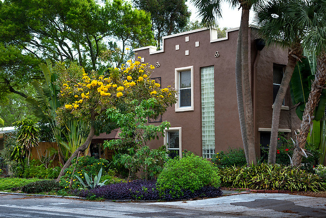 Spanish Colonial Revival style house built in 1926 in the Old Southeast neighborhood of Saint Petersburg, Florida.  The flowering yellow tree is a Tabebuia that is native to the American tropics.