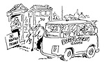 """(A Darby and Joan Club van pulls up outside a pub with a sign """"No walking frames"""")"""