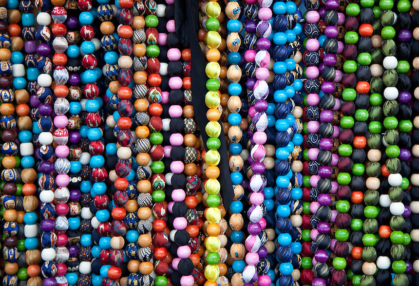 Close up of marketplace beads