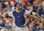 15 June 2012: New York Yankees catcher Russell Martin in action against the Washington Nationals at Nationals Park in Washington, DC. The Yankees defeated the Nationals 7-2 in the first game of their 3-game series. Mandatory Credit: Ed Wolfstein Photo