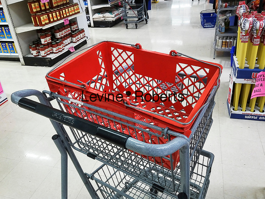 A cart with a basket on top in a supermarket in New York on Tuesday, April 5, 2016. (© Richard B. Levine)