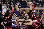 21 APR 2012:  Assistant coach of the University of Alabama Dana Duckworth celebrates with her team during the Division I Women's Gymnastics Championship held at the Gwinnett Center Arena in Duluth, GA. Alabama placed first with a team score of 197.850. Joshua Duplechian/NCAA Photos