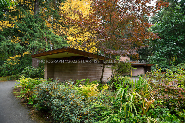 """10/9/2012--Sammamish, WA, USA..VIEW: Exterior showing separate office/study room next to car port...Architect Frank Lloyd Wright planned his """"Usonian"""" homes to be affordable for middle-class families. The 1,9500 square foot Brandes home is for sale in Sammamish, Washington (30 minutes from Seattle) at $1.39 million. It features three bedrooms, two bathrooms and a small, separate office/study space...The home was built in 1952, and has redwood trim and Wright's original furniture and some garden sculptures by Wright. It's one of only three Frank Lloyd Wright homes near Seattle...©2012 Stuart Isett. All rights reserved."""