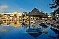 The all-inclusive Barceló Maya Beach Resort on Mexico's Yucatan Peninsula has five hotels, 24 restaurants, and 19 bars. The Riviera Maya, as it has come to be called, is a stunning strip of sandy beaches flanked by a tropical jungle that stretches from Cancun nearly 100 miles south to the town of Tulum..