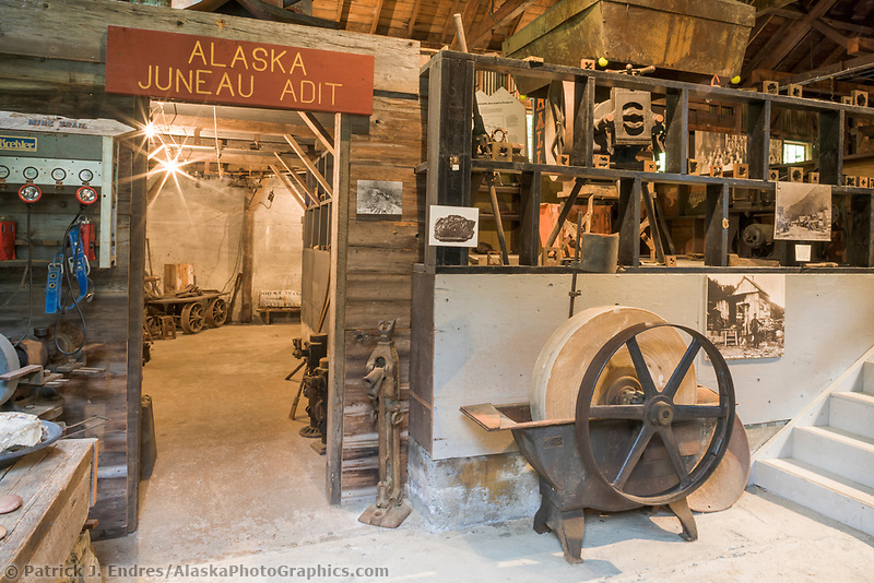Last Chance Gold Mine, Juneau, Alaska. Located in the historic compressor building associated with the former Alaska Juneau Gold Mining Company which operated in Juneau from 1912 until 1944. The museum features one of the world's largest air compressors and other industrial artifacts associated with hard rock gold mining.