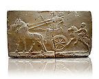 Sculpted Assyrian relief panels of Royal Chariot &amp; Guards  from Hadatu ( Aslantas ) around 800 B.C. Istanbul Archaeological museum Inv No. 1946