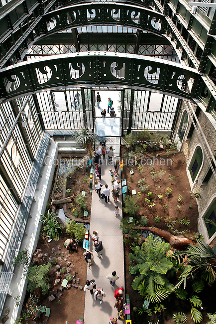 New Caledonia Glasshouse (formerly The Mexican Hothouse), 1830s, Charles Rohault de Fleury, Jardin des Plantes, Museum National d'Histoire Naturelle, Paris, France.  View from above of the interior of the glasshouse showing the newly planted Glasshouse which is divided into areas representing the four forest climates: top right: arid forest; top left: mangrove; bottom right: humid forest; bottom left: savannah. The girders arch across the scene above the many paned windows. The New Caledonia Glasshouse, or Hothouse, was the first French glass and iron building.