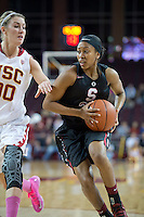 LOS ANGELES, CA - February 15, 2013:  Stanford's Jasmine Camp during the Cardinal's game against USC.   Stanford defeated USC, 79-55.