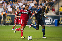 Sherjill MacDonald (7) of the Chicago Fire. The Chicago Fire defeated the Philadelphia Union 3-1 during a Major League Soccer (MLS) match at PPL Park in Chester, PA, on August 12, 2012.