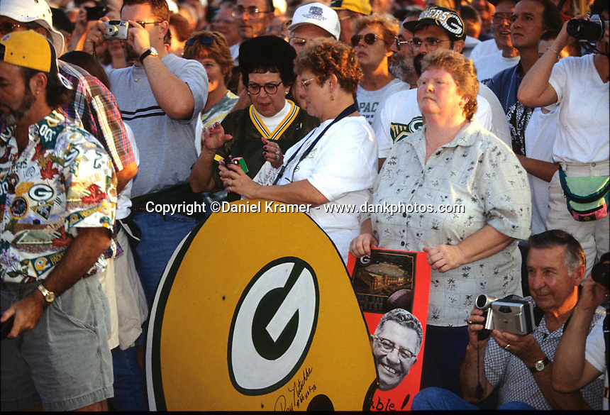Green Bay Packers fans in attendance at the Lombardi Legends reunion in downtown Green Bay, Wisconsin in September of 2001.