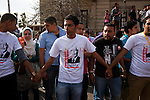 Egyptian youth volunteers wearing T-shirts for Islamist Presidential candidate Abdul Moneim Aboul Fotouh help hold back the growing crowd at an April 30, 2012 campaign rally in Alexandria, Egypt. Aboul Fotouh has balanced support from a number of important political sectors and has become one of the races front running candidates.