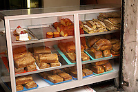 Baked goods in a panaderia in downtown San Salvador, El Salvador