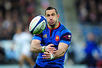 Scott Spedding of France passes the ball. RBS Six Nations match between France and England on March 19, 2016 at the Stade de France in Paris, France. Photo by: Patrick Khachfe / Onside Images