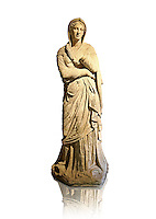 Greek Late Hellenistic marble statue of Baeria, from Magnesia AD Maeandrum ( Menderes Manisasi ), temple of Athens, Turkey. Mid 1st cent. B.C .  Istanbul Archaeological museum Inv 605 T.  Cat. Mendel 550