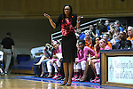 08 February 2015: Clemson head coach Audra Smith. The Duke University Blue Devils hosted the Clemson University Tigers at Cameron Indoor Stadium in Durham, North Carolina in a 2014-15 NCAA Division I Women's Basketball game. Duke won the game 89-60.