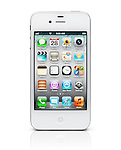 White iPhone 4s Apple smartphone with desktop icons on its display. Isolated on white background with clipping path.