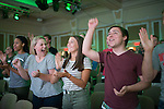 Left to right, Sydney Bone, Hannah Hiltz, and Jacob Arno learn the OHIO cheer at Bobcat Student Orientation on June 15, 2016. © Ohio University / Photo by Kaitlin Owens