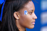 CHARLOTTESVILLE, VA- NOVEMBER 12: A Duke Blue Devil cheerleader watches during the game against the Virginia Cavaliers on November 12, 2011 at Scott Stadium in Charlottesville, Virginia. Virginia defeated Duke 31-21. (Photo by Andrew Shurtleff/Getty Images) *** Local Caption ***