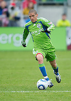25 April 2010: Seattle Sounders midfielder Osvaldo Alonso #6 in action during a game between the Seattle Sounders and Toronto FC at BMO Field in Toronto..Toronto FC won 2-0....