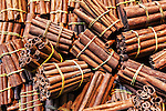 Closeup of Cinnamon sticks from the souks (markets) in Marrakech, Morocco.