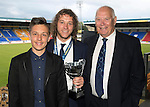 St Johnstone FC Player of the Year Awards...18.05.14<br /> Jailer Tours Player of the Year Award to Stevie May presented by Ben English and Jim Mailer<br /> Picture by Graeme Hart.<br /> Copyright Perthshire Picture Agency<br /> Tel: 01738 623350  Mobile: 07990 594431