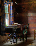 HDR image of the sewing corner in a log cabin at the Farm Museum of the Oconoluftee Visitors Center in the Great Smoky Mountains National Park.