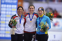 SCHAATSEN: ERFURT: Gunda Niemann Stirnemann Eishalle, 21-03-2015, ISU World Cup Final 2014/2015, Podium 500m Ladies, Brittany Bowe (USA), Heather Richardson (USA), Yekaterina  Aydova (KAZ), ©foto Martin de Jong