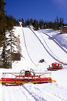 Snow Maintenance Machine preparing Ski Jumps at Whistler Olympic Park - Site of Vancouver 2010 Winter Games British Columbia Canada