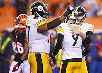 Chris Boswell #9 of the Pittsburgh Steelers is congratulated by teammates Jordan Berry #4 and Marcus Gilbert #77 after kicking the game-winning field goal against the Cincinnati Bengals in the fourth quarter during the Wild Card playoff game at Paul Brown Stadium on January 9, 2016 in Cincinnati, Ohio. (Photo by Jared Wickerham/DKPittsburghSports)