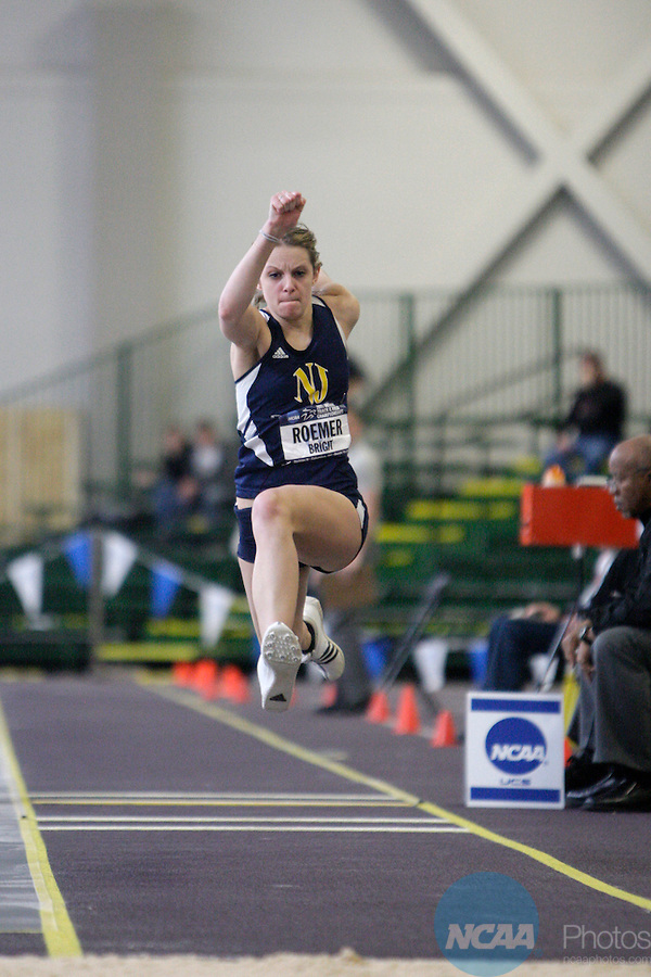 12 MAR 2011: Brigit Roemer of College of New Jersey triple jumps during the Division III Men's and Women's Indoor Track and Field Championships held at the Capital Center Fieldhouse on the Capital University campus in Columbus, OH.  Jay LaPrete/NCAA Photos