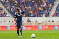 Landon Donovan (10) of the Los Angeles Galaxy readies for a free kick. The New York Red Bulls defeated the Los Angeles Galaxy 1-0 during a Major League Soccer (MLS) match at Red Bull Arena in Harrison, NJ, on May 19, 2013.