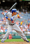 5 September 2011: Los Angeles Dodgers infielder Justin Sellers in action against the Washington Nationals at Nationals Park in Los Angeles, District of Columbia. The Nationals defeated the Dodgers 7-2 in the first game of their 4-game series. Mandatory Credit: Ed Wolfstein Photo