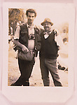 The photographer, Nigel Dickinson, pictured with his friend Leslie Elliot at Appleby Fair, Cumbria, England