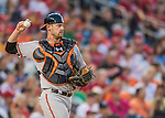 25 August 2016: Baltimore Orioles catcher Matt Wieters in action against the Washington Nationals at Nationals Park in Washington, DC. The Nationals blanked the Orioles 4-0 to salvage one game of their 4-game home and away series. Mandatory Credit: Ed Wolfstein Photo *** RAW (NEF) Image File Available ***