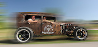 Charly Juchler and Lakota Artist Evans Flammond in a Rat Rod Car, Native American People, Rapid City, Black Hills, South Dakota, USA,