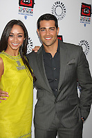 "LOS ANGELES - APR 12:  Cara Santana, Jesse Metcalfe arrives at Warner Brothers ""Television: Out of the Box"" Exhibit Launch at Paley Center for Media on April 12, 2012 in Beverly Hills, CA"
