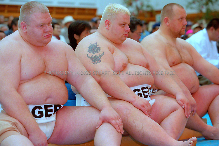 10/26/2001--Hirosaki, Aomori Prefecture, Japan..the German mens sumo team at the 2001 World Shin Sumo Championships...All photographs ©2003 Stuart Isett.All rights reserved.This image may not be reproduced without expressed written permission from Stuart Isett.