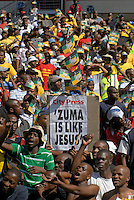 "A newspaper headline proclaims: ""Zuma is like Jesus"", at an African National Congress (ANC) election rally held at the Ellis Park Stadium in Johannesburg.."