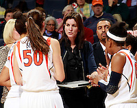 CHARLOTTESVILLE, VA- December 1: Head coach Joanne Boyle of the Virginia Cavaliers coaches her team during the game against the Indiana Hoosiers on December 1, 2011 at the John Paul Jones Arena in Charlottesville, Virginia. Virginia defeated Indiana 65-49. (Photo by Andrew Shurtleff/Getty Images) *** Local Caption *** Joanne Boyle