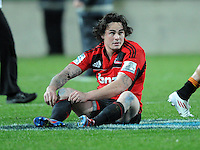 A disappointed Crusader Zac Guildford after the defeat to the Chiefs in the Super 15 Rugby semi final match, Waikato Stadium, New Zealand, Friday, July 27, 2012. Credit:SNPA / Ross Setford