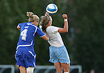 11 October 2007: Duke's Gretchen Miller (4) and North Carolina's Whitney Engen challenge for a header. The University of North Carolina Tar Heels defeated the Duke University Blue Devils 2-1 at Fetzer Field in Chapel Hill, North Carolina in an Atlantic Coast Conference NCAA Division I Women's Soccer game.